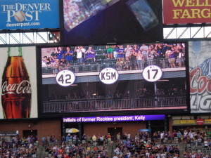 A Coors Field view of Todd Helton's retired No. 17, beside those for the late Jackie Robinson and Keli McGregor. (Jan Wells photo)