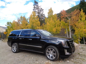 The 2015 Cadillac Escalade ESV partway up the drive to Guanella Pass. (Bud Wells photo)