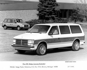 1987 Dodge Caravan shows its extended length.