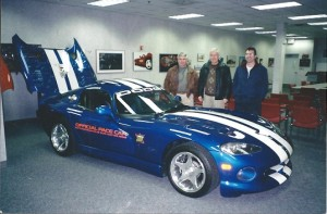 From left, Dale, Bud and Brent Wells in the Dodge Viper factory in Detroit in 2002. (Conner Factory photo)