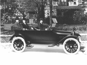 Dodge brothers Horace and John take ride in first 1914 Dodge automobile. (Dodge photos)