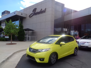 The 2015 Honda Fit, in mystic yellow, shone brightly at Shanahan's Steakhouse. (Bud Wells photos)