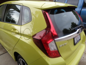 Taillights add prominence to the rear of Fit.