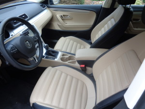 The VW CC interior is attractive in light-color finish.