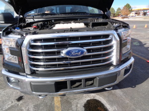 The large new five-bar grille in the 2015 Ford F-150. (Bud Wells photo)