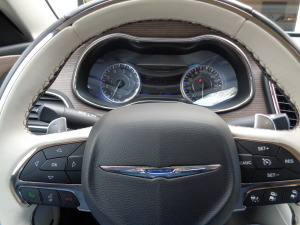A peek through the Chrysler 200C steering wheel.