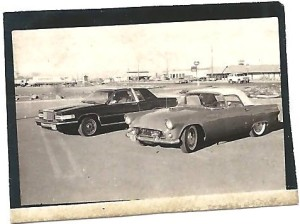 The redesigned 1980 Ford Thunderbird, left, beside an original '55 model. (Bud Wells photo)