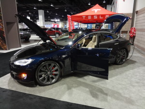 Tesla displayed its Model S electric at last year's Denver Auto Show. (Bud Wells photo)