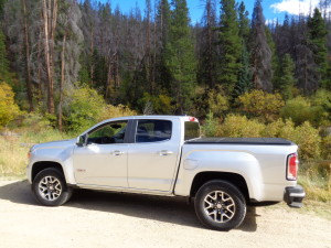 A twisting gravel road was excellent test for the 2015 GMC Canyon 4WD Crew Short Box. (Bud Wells)
