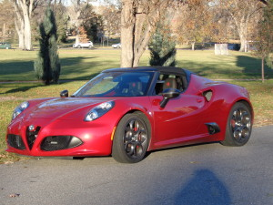 The Alfa Romeo 4C Spider in Denver's City Park. (Bud Wells photos)