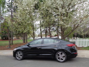 "The 2017 Hyundai Elantra has shed its ""small car"" look, with styling more like the larger Sonata. (Bud Wells photo)"