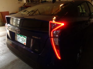 Noticeable in nighttime driving are zigzag LED taillights on the Prius.