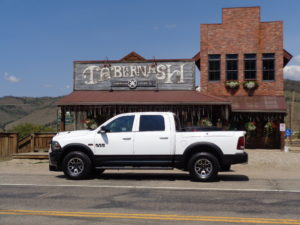 The 2016 Ram 1500 Rebel 4X4 out front of the Tabernash Tavern.