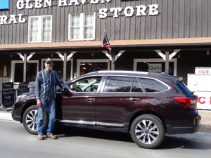 Steve Childs, owner of Glen Haven General Store, inspected the new Subaru Outback.