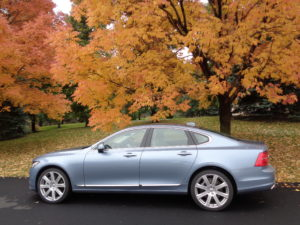 The new Volvo S90 is the star in a blue-and-gold setting. (Bud Wells photo)